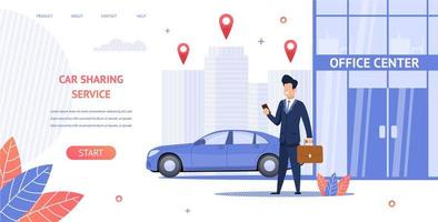 Man Renting Car to Office Center Banner