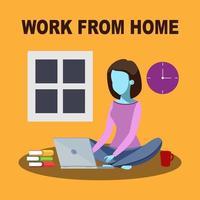 Girl Sitting on Floor Working on Laptop vector