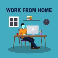 Man Working From Home On Computer vector