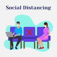 distanciamento social do homem e da mulher vetor