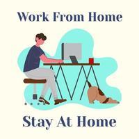 man op de computer werken vanuit huis
