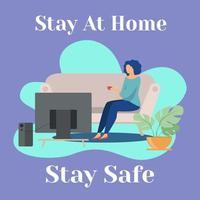 mujer quedarse en casa para mantenerse a salvo vector