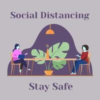 distanciamento social de duas mulheres para permanecer seguro