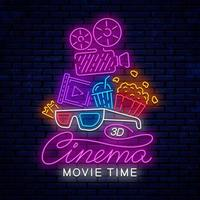 Bright neon cinema sign with movie camera vector