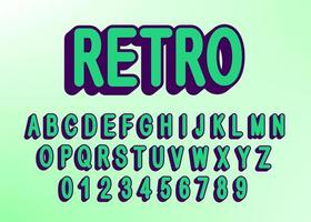 Retro alphabet font with letters and numbers vector