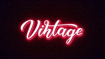 Vintage hand drawn neon lettering vector