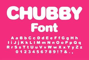 Chubby font for print design vector