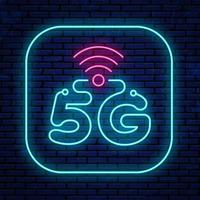 Bright glowing 5G icon sign vector