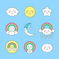 conjunto de personajes de cielo lindo