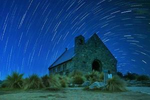church of good shepherd with stary night