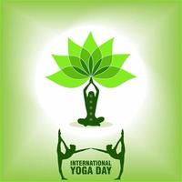 International Yoga Day Poster with People Posing vector