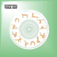 cartel verde del día internacional del yoga vector