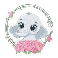 Cute summer baby elephant with flower wreath.