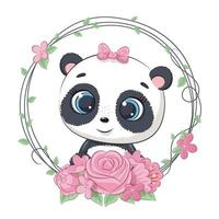 Cute summer baby panda with flower wreath. vector