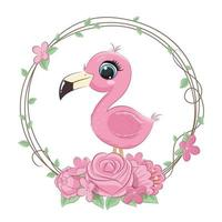 Cute summer baby flamingo with flower wreath vector