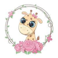 linda jirafa de verano con corona de flores vector