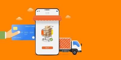 Mobile Shopping Delivery Service on Orange vector