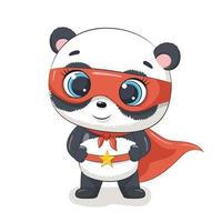 lindo superhéroe panda vector