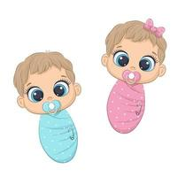 Cute newborn girl and boy vector