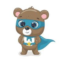 lindo oso superhéroe vector