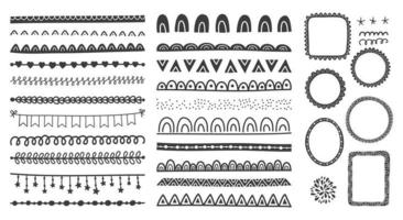 Hand drawn set of cute doodle frames, dividers, borders.  vector