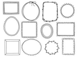 Hand drawn set of cute frames vector
