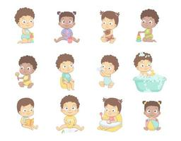 Cute babies set vector