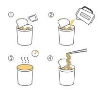 Steps how to cook instant noodles vector