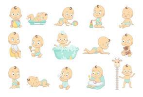 adorable bebé feliz y su rutina diaria vector