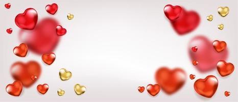 fundo com balões de coração vermelho e dourado