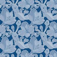 patrón transparente azul oscuro con brotes de alstroemeria y flores