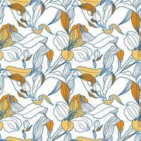 patrón transparente blanco con brotes de alstroemeria y flores