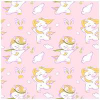 cute little unicorns pink seamless pattern vetor