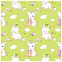 Cute little unicorns green seamless pattern