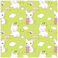 cute little unicorns green seamless pattern vetor