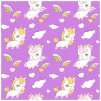 cute little unicorns lavander seamless pattern vetor