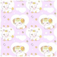 Cute little princess unicorns pink seamless pattern