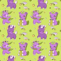 lindos unicornios pequeños en un patrón de pradera vector