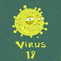 coronavírus triste em um estilo cartoon vetor