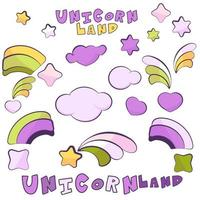 Unicorn Land items with dark outlines vector