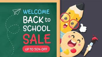 Pencil and palette write back to school on the blackboard. vector
