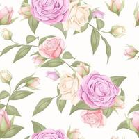 Pale pink floral rose seamless pattern  vector
