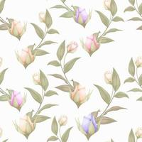 Rose buds seamless pattern design vector