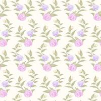 Simple seamless pastel pink and purple rose pattern