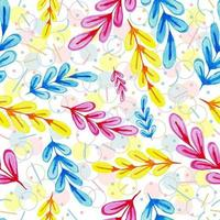 Colorful Floral Pattern with Watercolor Leaves vector
