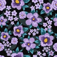 Patrón floral con flores planas de color púrpura y hojas