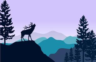 Silhouette of deer and pine trees vector