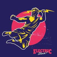 Zeus Throwing Thunderbolt Mascot