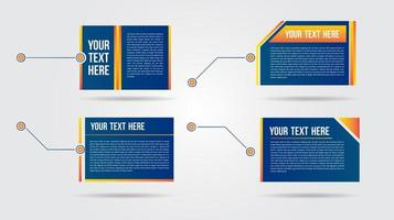 Futuristic blue and orange call out bar labels
