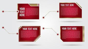 Futuristic red and gold call out bar labels